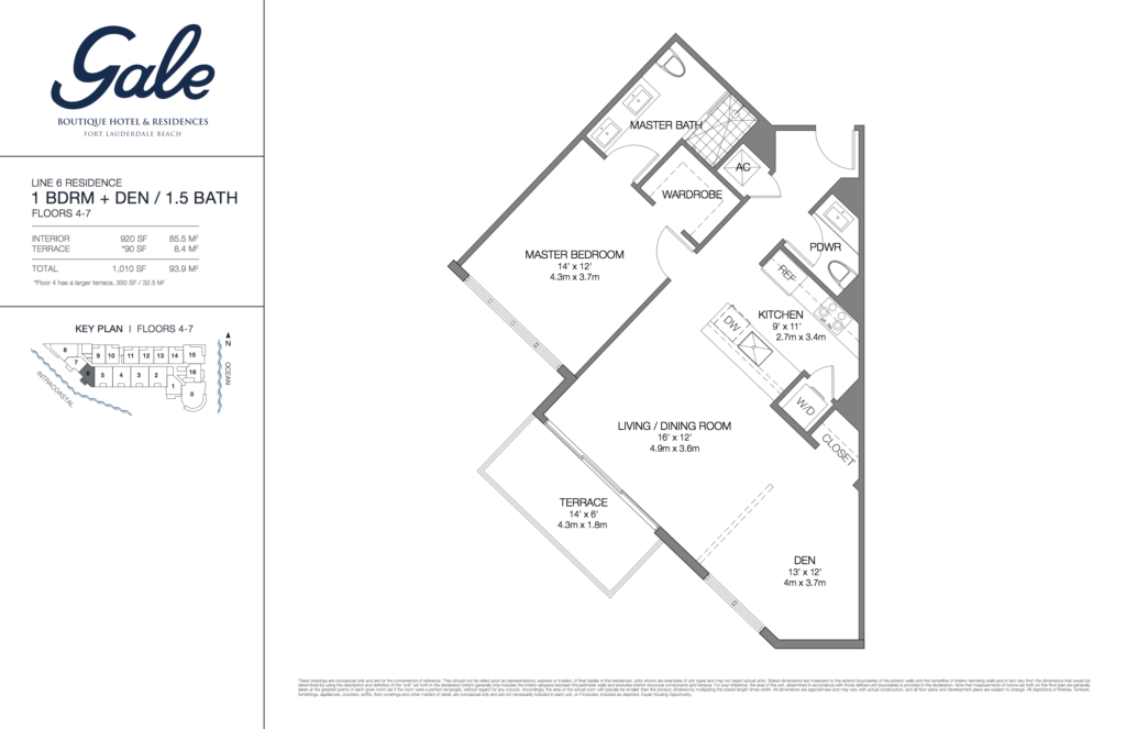 Gale Fort Lauderdale Floor Plan 1 Bedroom + Den + 1.5 Bathroom 1010 Sq. Ft.
