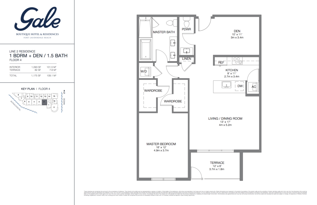 Gale Fort Lauderdale Floor Plan 1 Bedroom + Den + 1.5 Bathroom 1175 Sq. Ft.