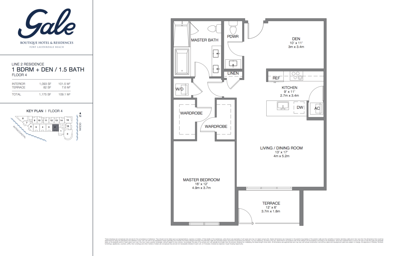 Gale Fort Lauderdale Floor Plan 1 Bedroom Den 15 Bathroom 1175 Sq Ft