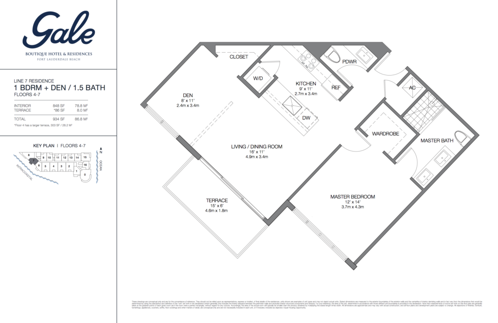 Gale Fort Lauderdale Floor Plan 1 Bedroom + Den + 1.5 Bathroom 934 Sq. Ft.