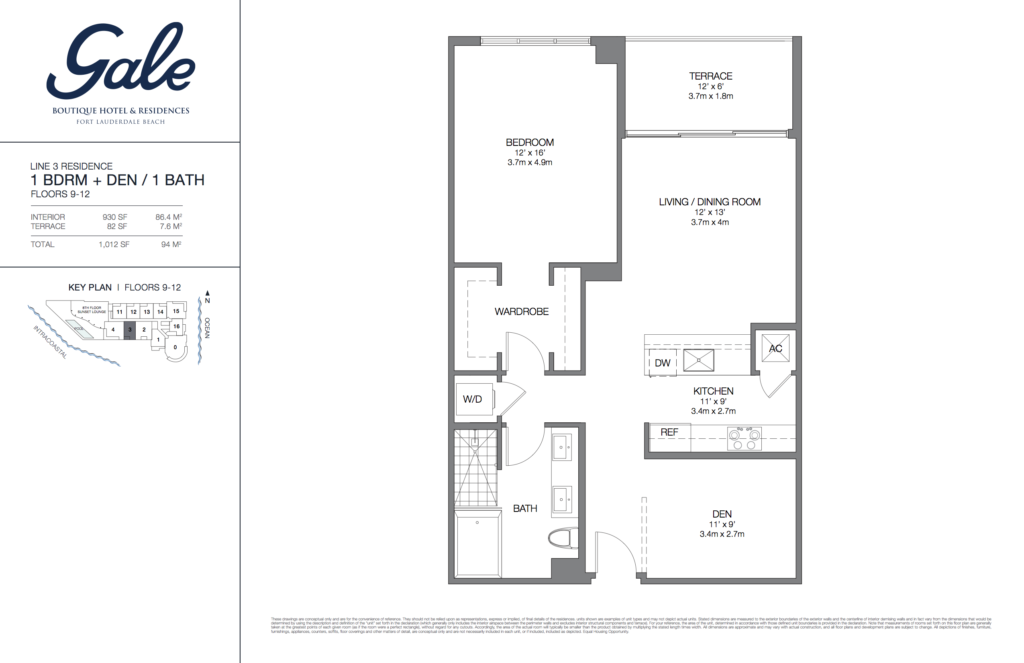 Gale Fort Lauderdale Floor Plan 1 Bedroom + Den + 1 Bathroom 1012 Sq. Ft.