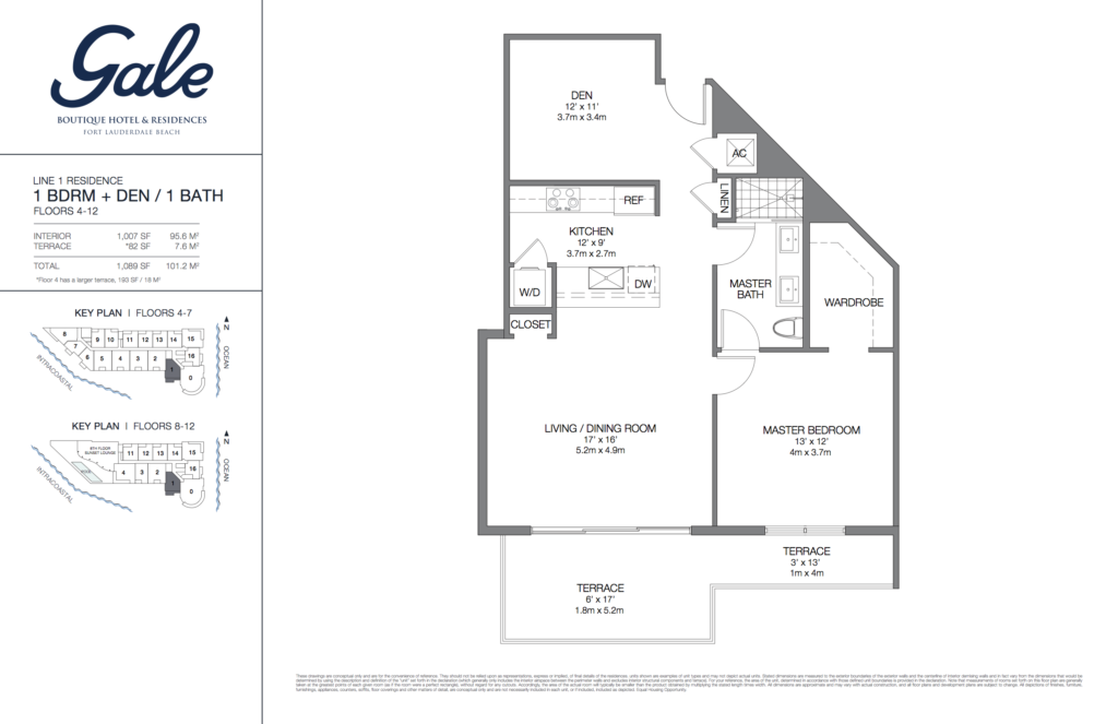 Gale Fort Lauderdale Floor Plan 1 Bedroom + Den + 1 Bathroom 1089 Sq. Ft.