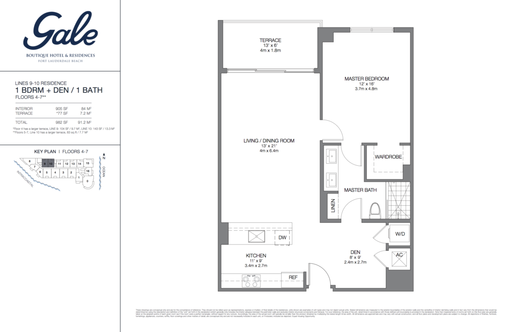 Gale Fort Lauderdale Floor Plan 1 Bedroom + Den + 1 Bathroom 982 Sq. Ft.
