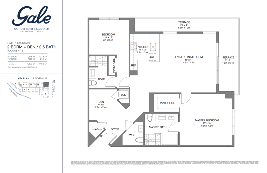 Gale Fort Lauderdale Floor Plan 2 Bedroom + Den + 2.5 Bathroom 1602 Sq. Ft.