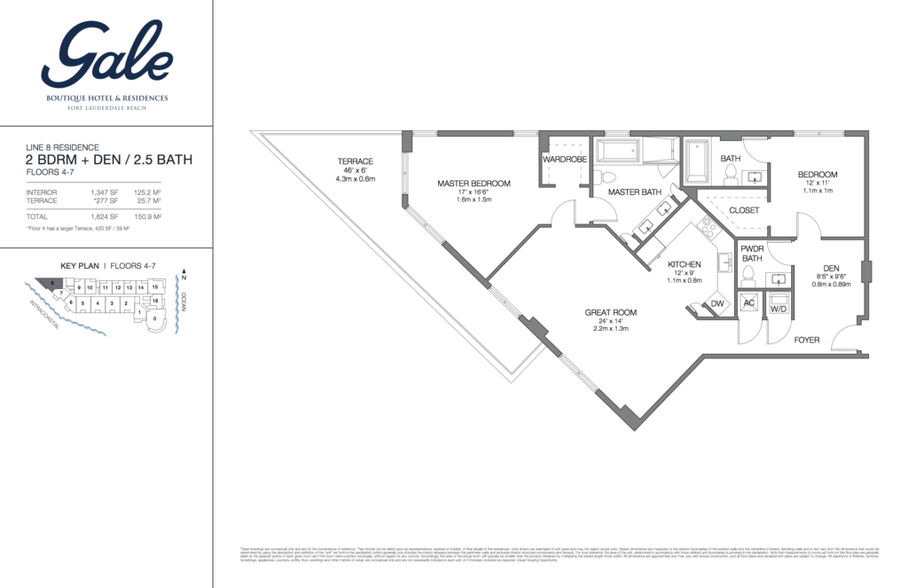 Gale Fort Lauderdale Floor Plan 2 Bedroom + Den + 2.5 Bathroom 1624 Sq. Ft.