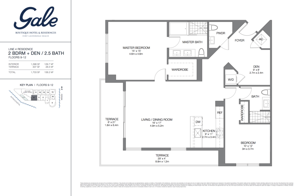 Gale Fort Lauderdale Floor Plan 2 Bedroom + Den + 2.5 Bathroom 1703 Sq. Ft.