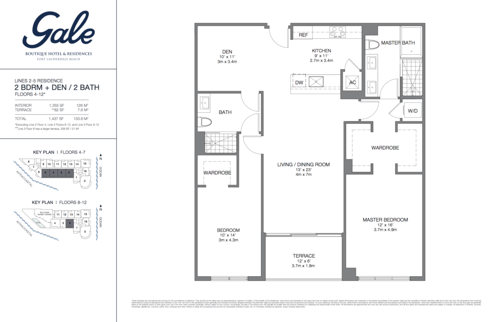 Gale Fort Lauderdale Floor Plan 2 Bedroom + Den + 2 Bathroom 1437 Sq. Ft.