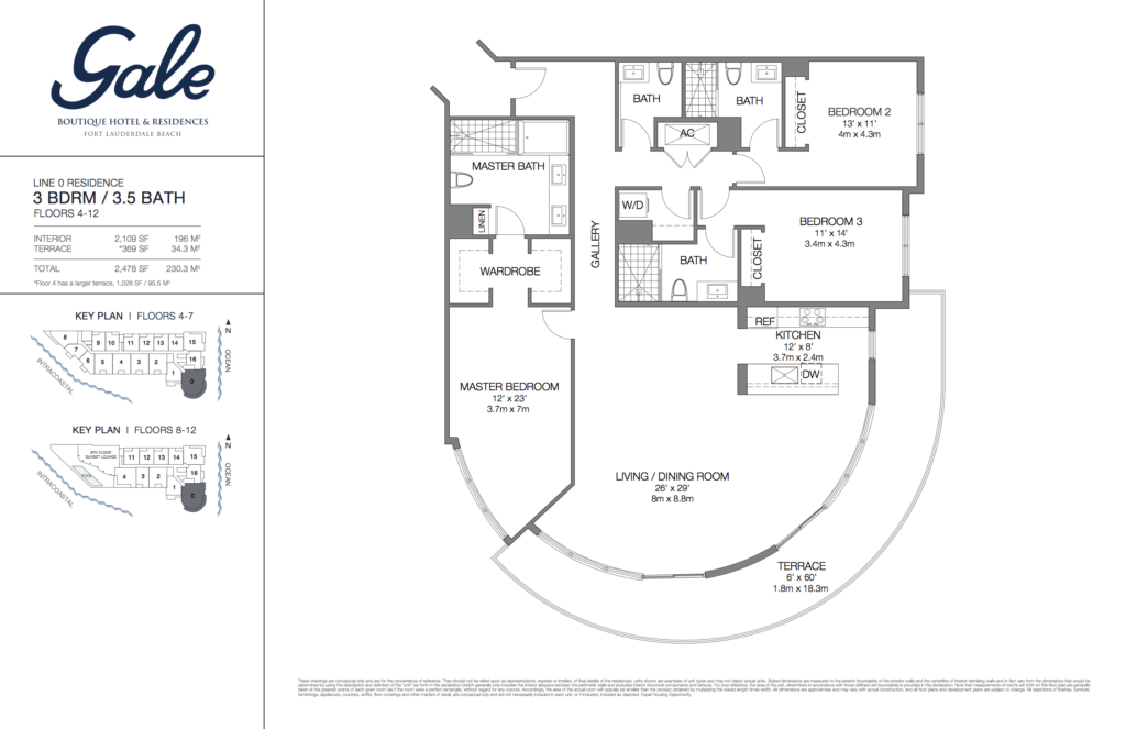 Gale Fort Lauderdale Floor Plan 3 Bedroom + 3.5 Bathroom 2478 Sq. Ft.