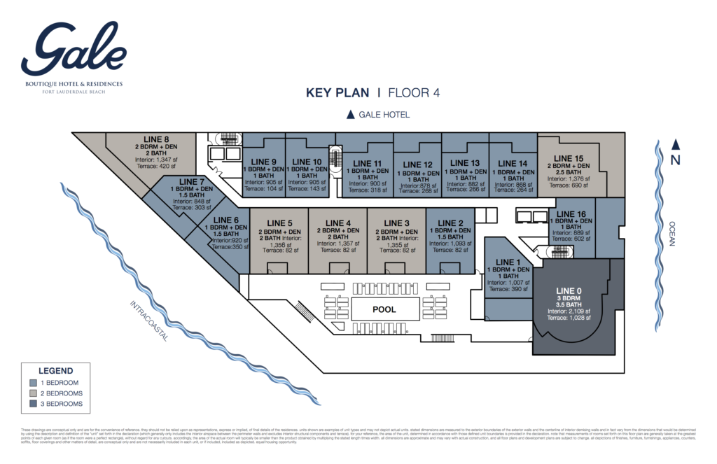 Gale Fort Lauderdale Key Plan Floor 4