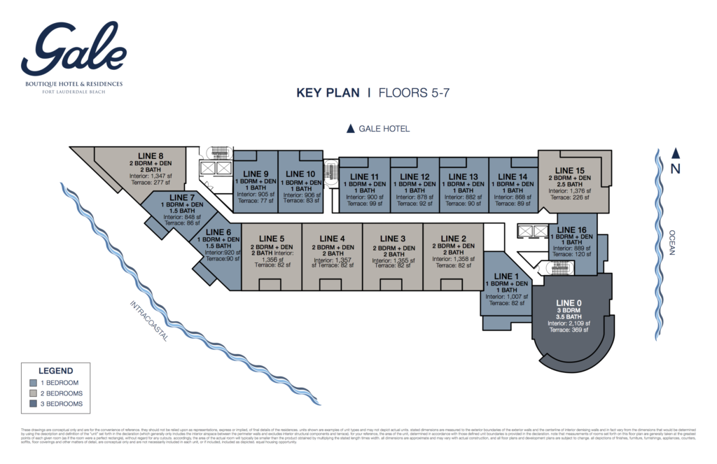 Gale Fort Lauderdale Key Plan Floors 5-7