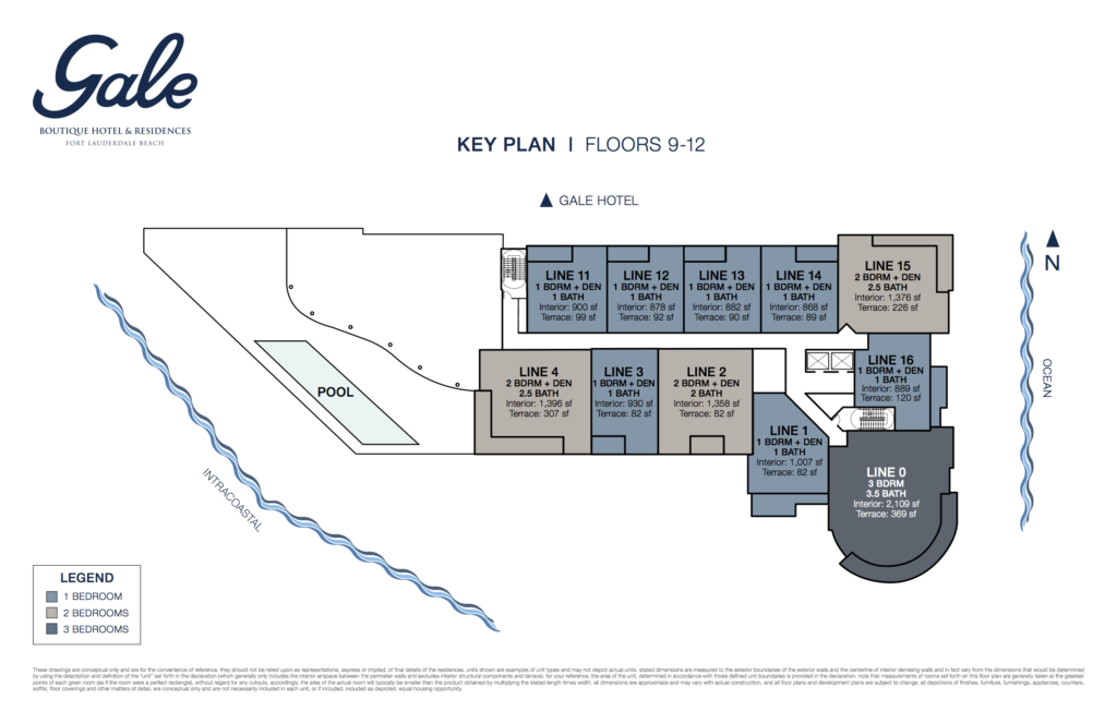 Gale Fort Lauderdale Key Plan Floors 9-12