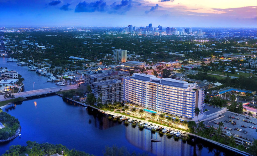 Riva Fort Lauderdale Evening Aerial View