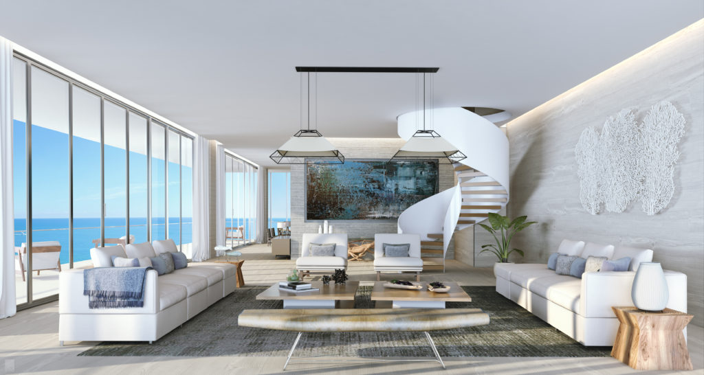 Auberge Beach Residences Fort Lauderdale North Penthouse Living Room