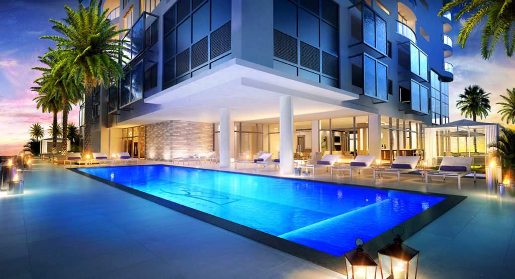 321 at Water's Edge Fort Lauderdale Pool Night View