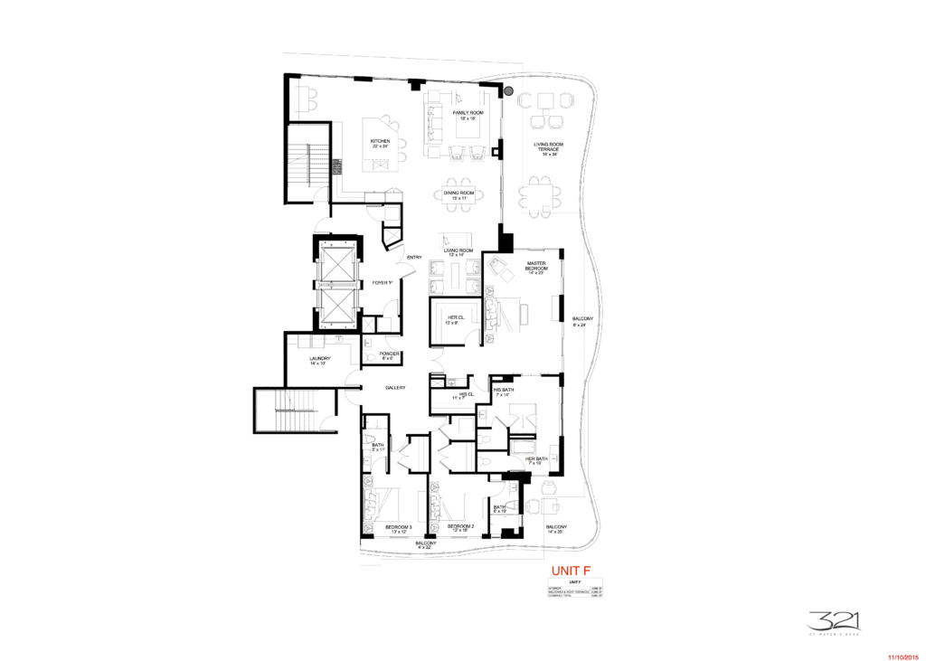 321 at Water's Edge Fort Lauderdale Unit F Floorplan