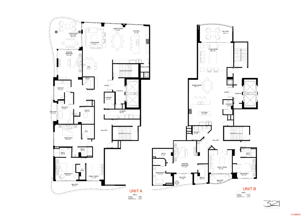 321 at Water's Edge Fort Lauderdale Units A and B Floorplan