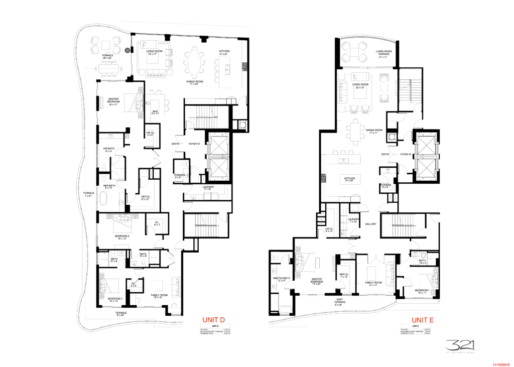 321 at Water's Edge Fort Lauderdale Units D and E Floorplan