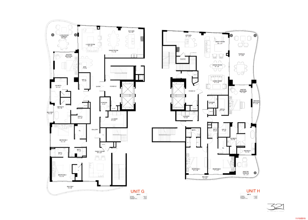 321 at Water's Edge Fort Lauderdale Units G and H Floorplan