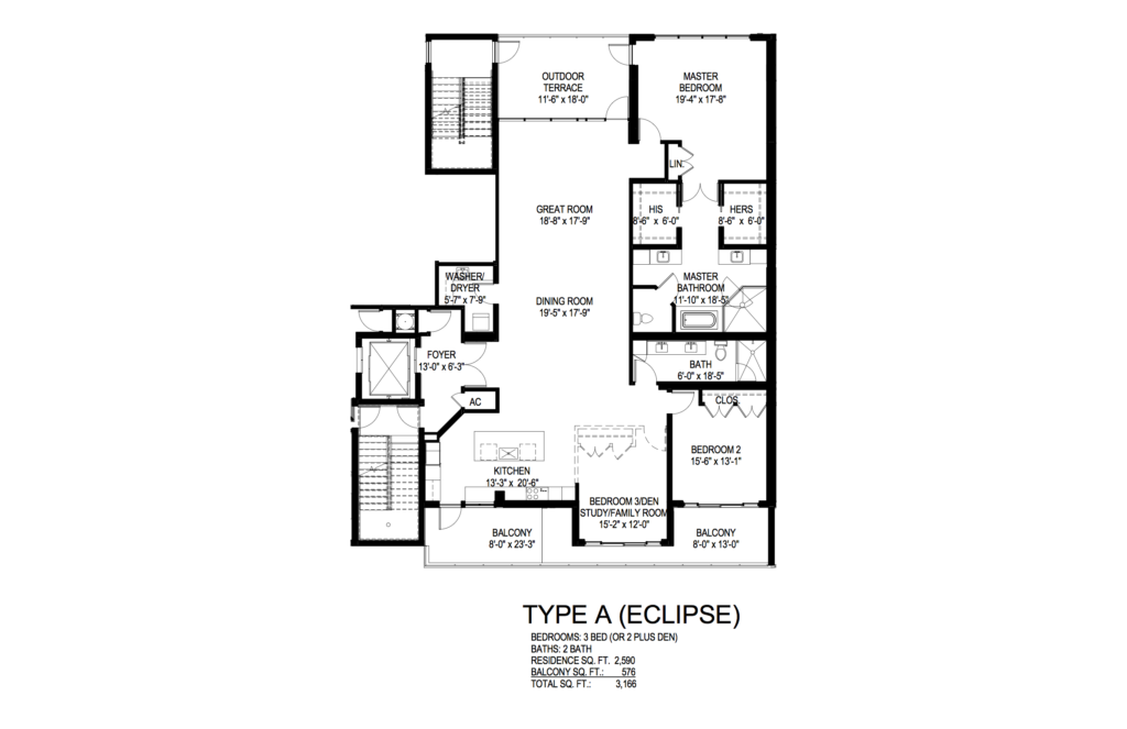 AquaLuna Fort Lauderdale Eclipse Floorplan