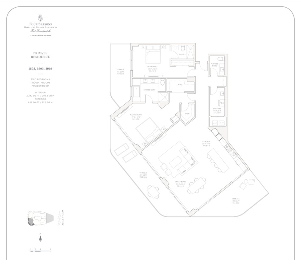 Four Seasons Fort Lauderdale Private Residences 1803, 1903, 2003 Floor Plan