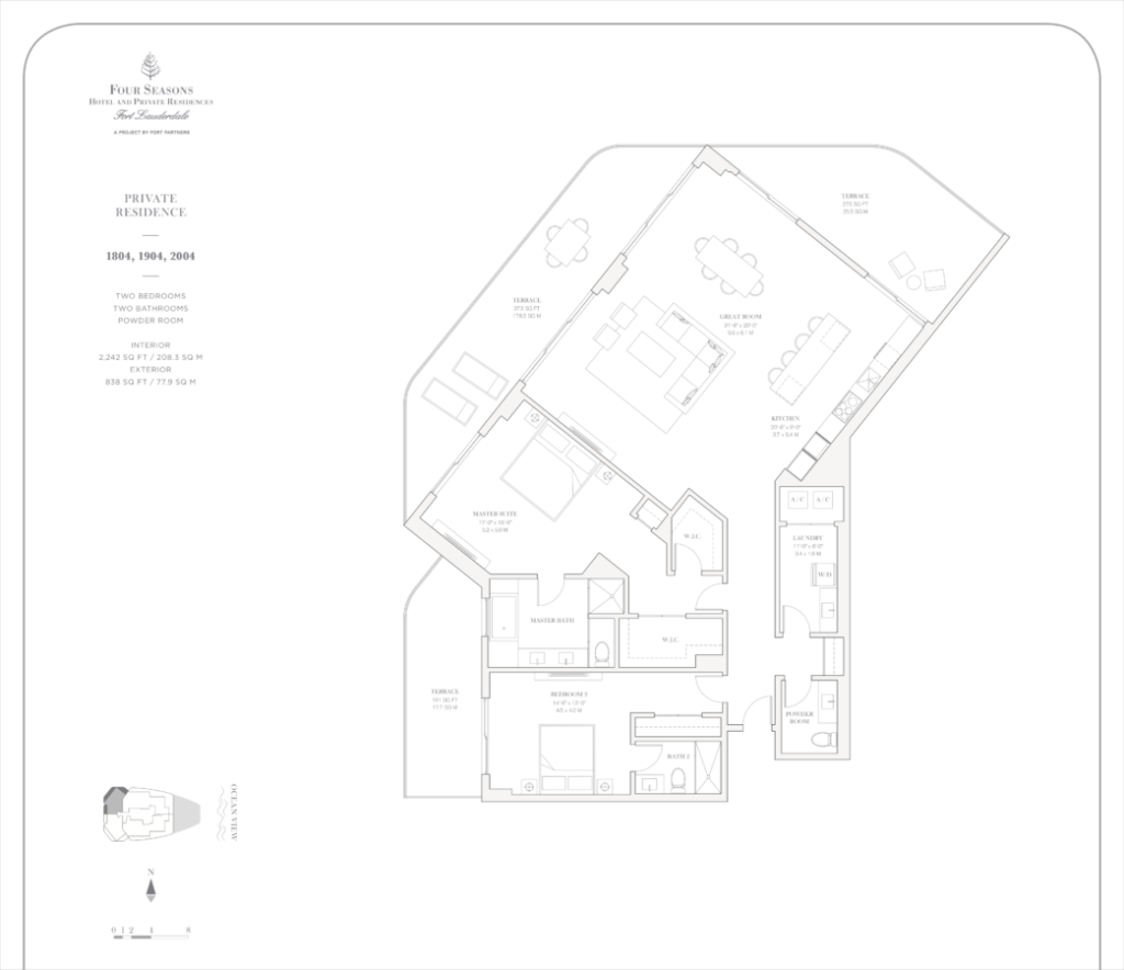 Four Seasons Fort Lauderdale Private Residences 1804, 1904, 2004 Floor Plan
