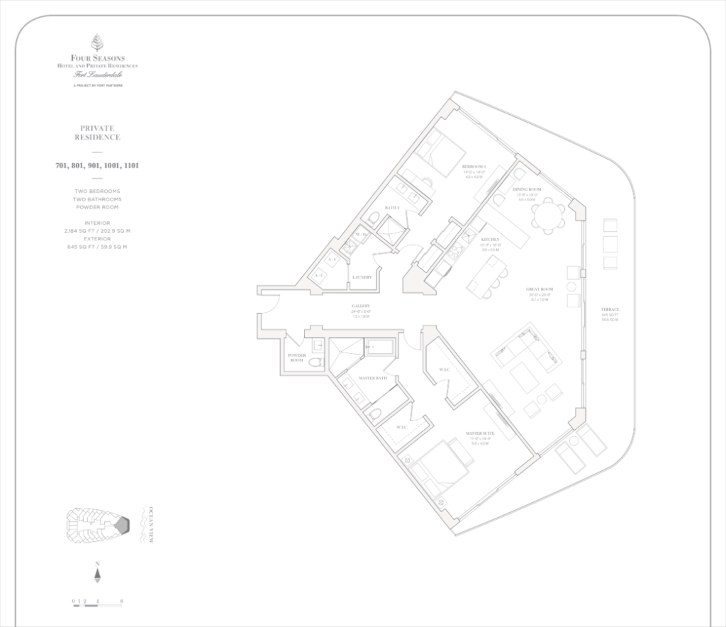 Four Seasons Fort Lauderdale Private Residences 701, 801, 901, 1001, 1101 Floor Plan