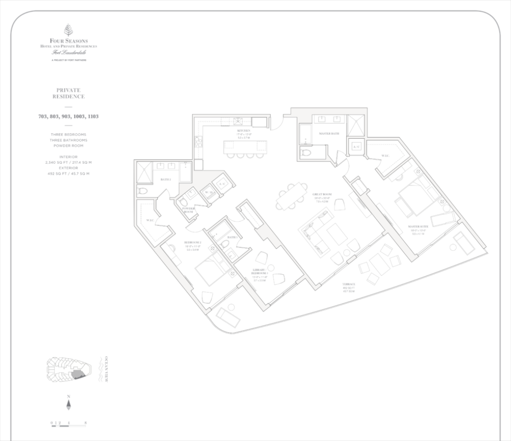 Four Seasons Fort Lauderdale Private Residences 703, 803, 903, 1003, 1103 Floor Plan